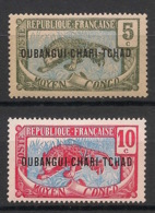 Oubangui - 1915-18 - N°Yv. 4 Et 5 - Panthère 5c / 10c - Neuf Luxe ** / MNH / Postfrisch - Unused Stamps