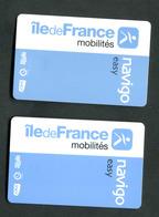 """Lot De 2 Cartes Navigo Easy RATP / SNCF Paris (2 Puces Différentes) Ticket De Métro électronique"""" - Métro"""