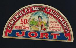 Ancienne étiquette Fromage Demi 1/2 Camembert  Normandie 50%mg JORT Ste Laitiere Des Fermiers Normands - Fromage