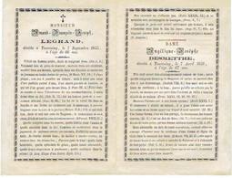 TOURCOING (F) - Amand François LEGRAND Décédé 1855 & Angélique Josèphe DESMETTRE Décédée 1856 - Images Religieuses