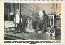 Jeux De Construction Métallique:  Robot,  Moulinà Vent  Et Manège à Avions - Coupure De Presse (illustration) De 1954 - Andere Verzamelingen