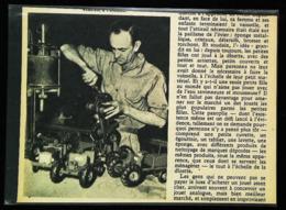 Fabrication De Modèle Réduit Tracteur Agricole - Coupure De Presse  (encadré Photo) De 1954 - Magazines