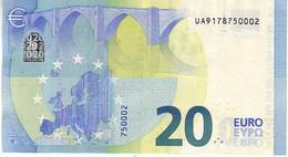 20 Euros 2015 Serie UA, U008A2, N° UA 9178750002,  Signature 3 Mario Draghi UNC - EURO