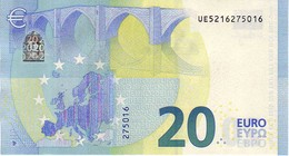 20 Euros 2015 Serie UE, U010A6, N° UE 5216275016, Signature 3 Mario Draghi UNC - EURO