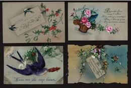 4 Cartes Fantaisie - Celluloid Peinte à La Main / Collage.. - 1er Avril / Bonne Fête  - 3 Scans - Autres