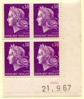 Marianne De Cheffer Y&T N° 1536 (Dallay N° 1569) Du 21/09/1967 Neuf ** - Dated Corners