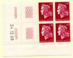 Marianne De Cheffer Y&T N° 1536B (Dallay N° 1571) Du 24/12/1968 Neuf ** - Dated Corners