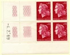 Marianne De Cheffer Y&T N° 1536B (Dallay N° 1571) Du 04/02/1969 Neuf ** - Dated Corners