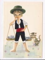 CP FANTAISIE BRODEE LESTER ( Marchand De Poisson Et  Chat) - Brodées