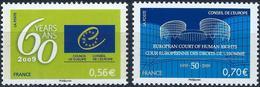 FRANCE - CONSEIL DE L'EUROPE - 60ème ANNIV. ET 50ème DE LA COUR EUROPÉENNE - ANNÉE 2009 - NEUFS** 2 VALEURS N° 142/143 - Service