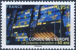 FRANCE - CONSEIL DE L'EUROPE - 60 ANS DU DRAPEAU EUROPÉEN - ANNÉE 2015 - NEUFS** 1 VALEUR N° 163 - Service