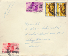 KATANGA AIR COVER FROM E/VILLE 29.12.60 TO SWITZERLAND - Katanga