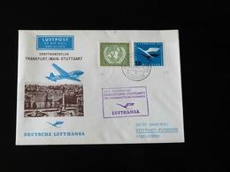 EROFFNUNGSFLUG     FRANKFURT / MAIN  -  STUTTGART  -     1955  -  LUFTHANSA - Cartas