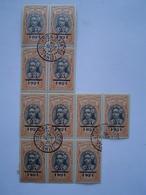 N° 46 : BLOC De 13 TIMBRE POSTE / 25 C Sur 15 Centimes / ETABLISSEMENTS DE L' OCEANIE / Tahitienne - Cachet 1921 - Océanie (Établissement De L') (1892-1958)