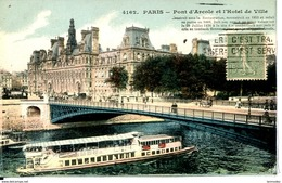 Dpt 75 Paris IV Pont D Arcole Et Hotel De Ville, Bateau-mouche Colorisee - France