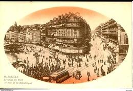 Dpt 13 Marseille Quai Du Port Et Rue De La Republique Image Ovale Rouge - Marseilles