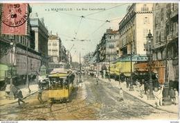 Dpt 13 Marseille La Rue Canebiere, Omnibus, Commerces No23 Animee 1906 EVT EC Tache Dos - Marseilles
