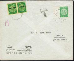 Israel -1948 Affranchissement Poste N° 2 à 5 M Sur Enveloppe De Haifa En Ville- Affr. Insuffisant, Taxe Paire N° 2 à10 M - Cartas