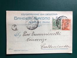 ACIREALE (CATANIA) ESPORTAZIONE VINI DELL'ETNA  GANGEMI GIACOMO & FIGLI  1921 2  UVA VINO - Acireale