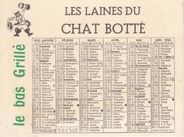 Calendrier De 1955 - LES LAINES  DU CHAT BOTTE - Calendriers