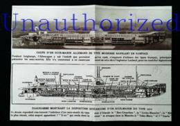 SOUS MARIN - Plan De Coupe D'un U-21 -  Coupure De Presse (encadré Photo) De 1915 - Macchine