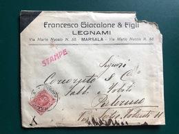 MARSALA (TRAPANI) BUSTA INTESTATA FRANCESCO GIACALONE & FIGLI  LEGNAMI - Marsala