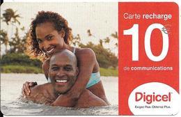 -CARTE-PREPAYEE-GSM-DIGICEL Antilles Françaises Guyane-10€-RECHARGE-COUPLE- 06/2006-Gratté-R°Glacé-TBE-RARE - Francia
