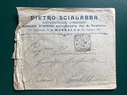 MARSALA (TRAPANI) BUSTA INTESTATA PIETRO SCIALABBA RAPPRESENTANZE COMMISSIONI  1910 - Marsala