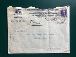 MARSALA (TRAPANI) BUSTA INTESTATA ASSICURAZIONI GENERALI VENEZIA AGENZIA PRINCIPALE DI MARSALA   1935 - Marsala