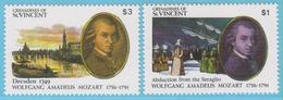 J.P.S. 7 - Musique - Timbre - Compositeur - N° 84 - Grenadines Of St Vincent - Mozart - N° Yvert 678/679 Et BF 56/57 - Musique