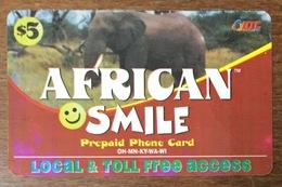 ÉTATS-UNIS USA OHIO AFRICAN SMILE 5$ ÉLÉPHANT PHONE CARD PAS TELECARTE CARTE TÉLÉPHONIQUE PRÉPAYÉE - Stati Uniti