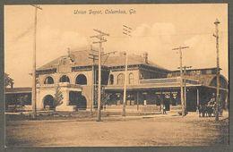 Union Depot Railroad Train Station, Columbus, Georgia, Sepia, Undivided Back - Columbus