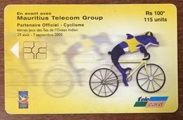 ÎLE MAURICE MAURITHIUS CYCLISME VÉLO  TELE CARD PHONE CARD TELECARTE CARTE TÉLÉPHONIQUE - Mauritius