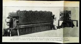 SOUS MARIN -  Moteur à Huile Lourde Pour Submersible 400 Cv -  Coupure De Presse (encadré Photo) De 1919 - Máquinas