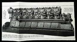 """SOUS MARIN -  Moteur à Huile Lourde """"Franco Tosi"""" Pour Submersible 1500 CV -  Coupure De Presse (encadré Photo) De 1919 - Macchine"""