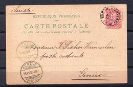 58 Op Postkaart Gestempeld Van BERCHEM ANVERS Naar GENEVE - 13 Aout 1900 - 1893-1900 Schmaler Bart