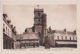 By - Cpa PLOERMEL (Morbihan) - La Place Lammenais Et L'Eglise St Armel, Tour Du XVIIIè Siècle - Ploërmel