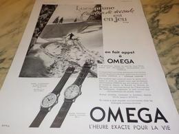 ANCIENNE PUBLICITE LE SKI  FRACTION DE SECOND  MONTRE OMEGA 1938 - Andere