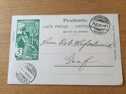 K2 Schweiz Ganzsache Stationery Entier Postal P 32 Von Bremgarten Nach Genf - Entiers Postaux