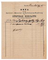 1885 AUSTRIA, HUNGARY, SERBIA, SOMBOR, NOTA, STEPHAN NIKOLITS, INVOICE ON LETTERHEAD - Autriche