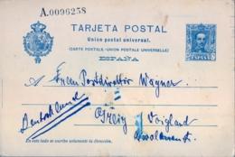 BARCELONA - VOIGLAND , ENTERO POSTAL CIRCULADO , ED. 59 , ALFONSO XIII - 25 CTS. - Interi Postali