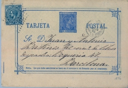 1876 , VALENCIA - BARCELONA , ENTERO POSTAL CIRCULADO , ED. 8 , ALFONSO XII , FRANQUEO COMPLEMENTARIO IMPUESTO DE GUERRA - Interi Postali
