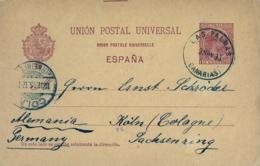 1895 , CANARIAS , LAS PALMAS - COLONIA , ENTERO POSTAL CIRCULADO , ED. 31 , LLEGADA - Interi Postali