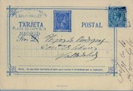 1876 , MADRID - VALLADOLID , ENTERO POSTAL CIRCULADO , ED. 8 , FRANQUEO COMPLEMENTARIO - Interi Postali