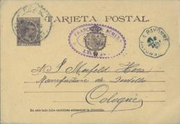 "1897 , SAN SEBASTIAN , IRÚN - COLONIA , ENTERO POSTAL CIRCULADO ED. 27 , AMBULANTE "" HENDAYE A BAYONNE "" - 1850-1931"