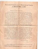 Lettre Et Formulaire : ASSOCIATION FRANCAISE POUR LA RECHERCHE DES DISPARUS - 2 Rue De Sèse à LYON - Documenten