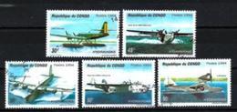 CONGO AVIONS 1994 (36) N° Yvert 997A à 997E Oblitérés Used - Oblitérés