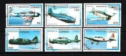 CONGO AVIONS 1996 (39) N° Yvert 1026N à 1026T Oblitérés Used - Oblitérés