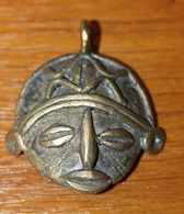 Pendentif Africain En Bronze Cire Perdue  (Afrique De L'Ouest) - 18.5gr - African Bronze Medal - Volksschmuck