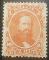 O) 1866 BRAZIL, EMPEROR DOM PEDRO - SC 53 10r Vermilion, NO GUM, XF - Neufs